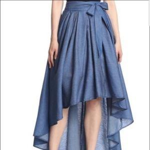 Gracia High Low Denim Maxi Skirt Sz Large